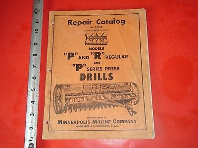 BA607 Vintage Minneapolis-Moline Repair Catalog No.D-525G Farm Equipment