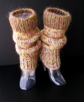 Colorful Art Hand Knit Thick Leg warmers in 100% NZ WOOL & Mohair/ Leg warmers