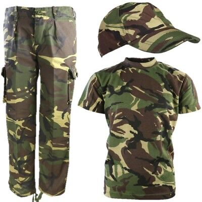 Boys Army Soldier Outfit Kids 3-13 Trousers T-Shirt Cap Fancy Dress Dpm Camo