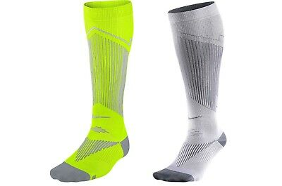 NIKE ELITE Running Graduated Compression Socks Reflective Silver Yellow UK 3-6