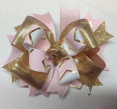 Metallic Gold & Baby Pink Mini Boutique Hair Bow Homemade Toddler Ships FREE
