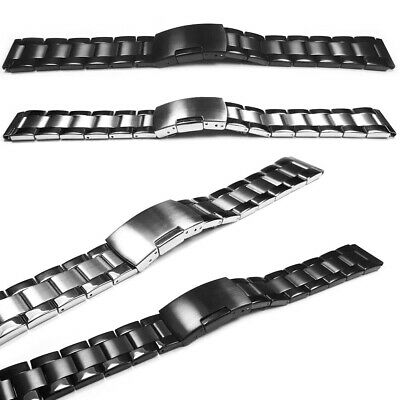 Mens Black And Stainless Steel Watch Strap Bracelet Spring Clasp