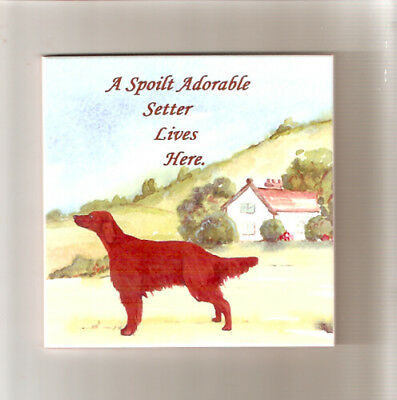 Irish Setter Spoilt Ceramic Tile Art by Sandra Coen LAST ONE!