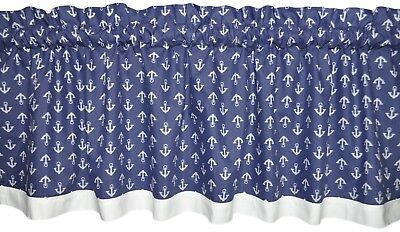 NEW boat ANCHORS navy blue white nautical window valance topper