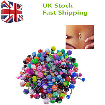 100pcs UK Gem Body Piercing Jewellery Belly Button Navel Ring Bars Stain Steel