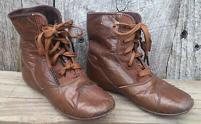 Original Antique Victorian Embroidered Brown Leather Lace Up Baby Boots Shoes