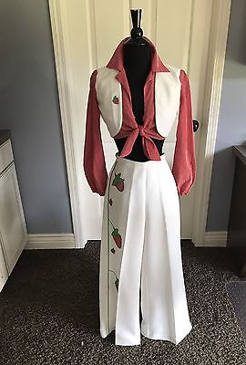 RARE Womens Vintage 60s Polyester Crop Top Bell Bottom Pants Outfit Size 3 Small