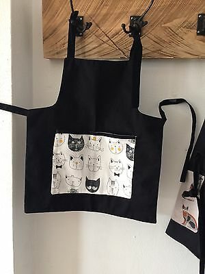 Childrens apron- Lined Little Chefs  Cooking or Craft/Cats pocket