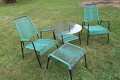 Ames Aire MCM Patio Lawn Set Arm Chair Glass Table Foot String Turquoise Cording