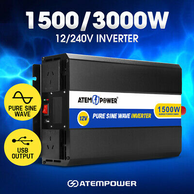 Pure Sine Wave Inverter 1500W Max 3000W Power 12V- 240V Car Caravan Camping Boat