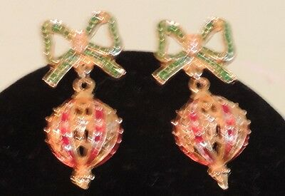 Vintage 1970s 1980s Red Green Clear Crystal Christmas Ornament Pierced Earrings
