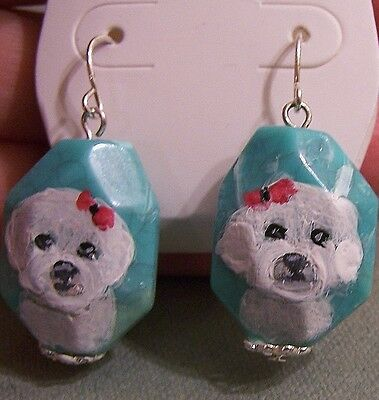 """hand painted Bichon Frise on turquoise  silver tone dangle earrings 1"""" long"""