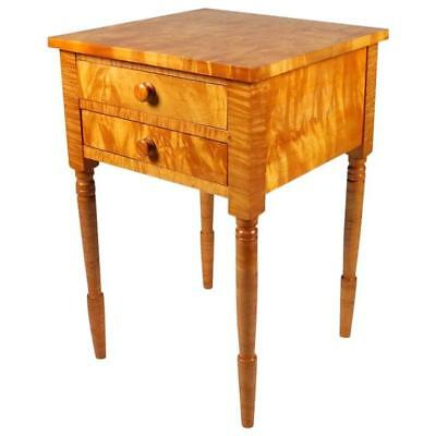 Sheraton Style Tiger Maple Two-Drawer Stand on Turned Legs, 20th Century