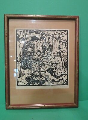 F Michl Ferdinand Michl (1877-1951) Japanese Woodblock Print /Signed  Framed