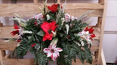 Christmas Cemetery Saddle Red Poinsettias With Candy Cane Red And White Poinsett