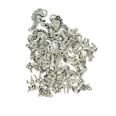 30Pcs Tibetan Silver Assorted Unicorn Charms Pendants Jewelry DIY Findings
