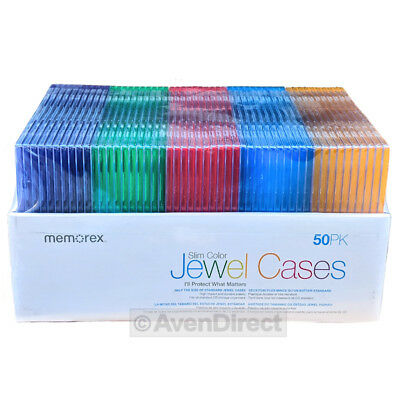 50 New Memorex Single Slim Multi Color CD DVD Jewel Case Box [FREE SHIPPING]