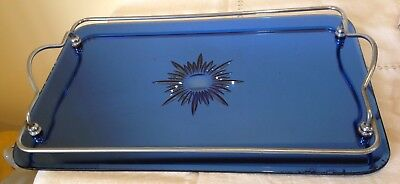 Vintage Blue Glass Serving Tray
