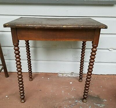 Antique Dark Wood Carved Turned Knob Leg Side Accent Occasional Vintage Table