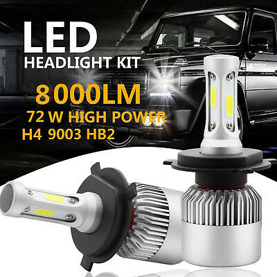 2x 9003 72W H4 LED Headlight Light Car Kit 6000K White Hi/Lo Beams 8000LM Bulbs