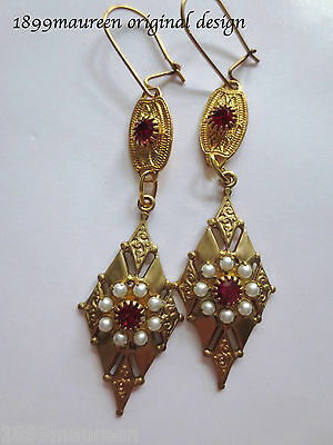 Art Deco Art Nouveau earrings pearl Tudor Elizabethan vintage red crystal