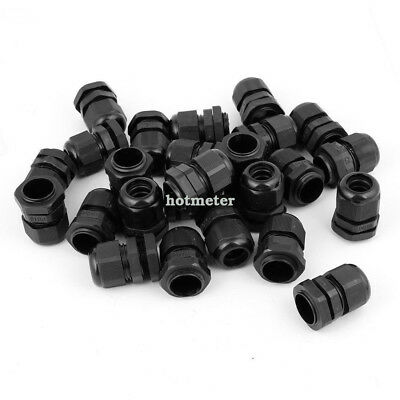 36 Pcs Black PG16 Plastic Connector Gland for 10mm-14mm Cable 21mm OD 25 x 35 mm