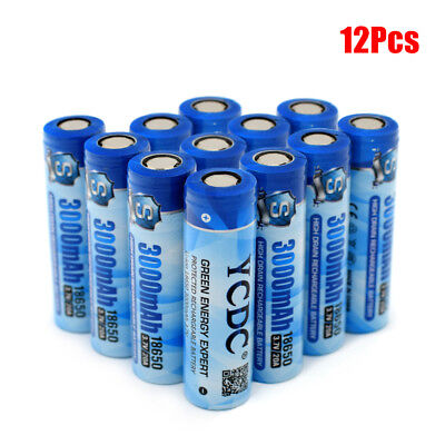 High Drain Rechargeable Li-ion 18650 Battery For LED Torch 3.7V 12Pcs 3000mAh