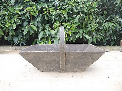Large Vintage French Garden Trug  with Hazel Handle  (338)