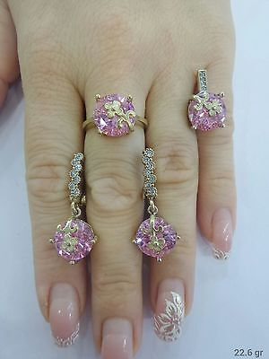 Handmade 925 Sterling Silver Turkish Jewelry Pink Topaz Gems Ladies Set