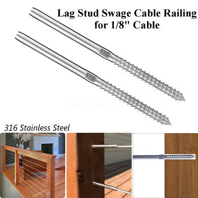 "2~200Pcs T316 Stainless Steel Lag Stud Hand Swage Cable Railing for 1/8"" Cable"