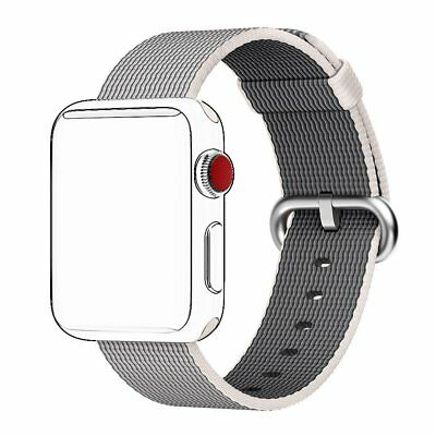 Woven Nylon Apple Watch Band 38mm Pearl Fabric Wrist Strap IWatch Series 3 2 1