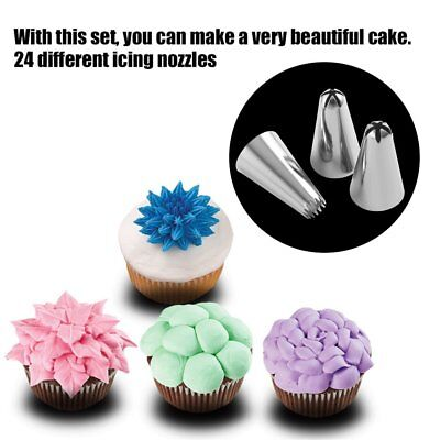 24 Pcs Russian Flower Icing Piping Nozzles Tips Pastry Cake DIY Baking Tool Tips