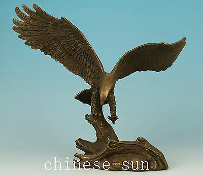 Chinese Bronze Handmade Carved Eagle Statue Figure