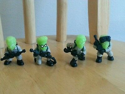 """GHOSTBUSTERS ECTO MINIS SET OF 4 RETRO Peter Ray FIGURES 2"""" LOOSE Glow in dark"""