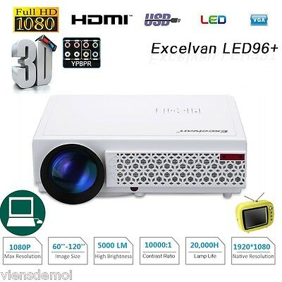 Multimedia Portable Projector 5000 lm 1080P 3D Home Cinema Theater LED HDMI USB
