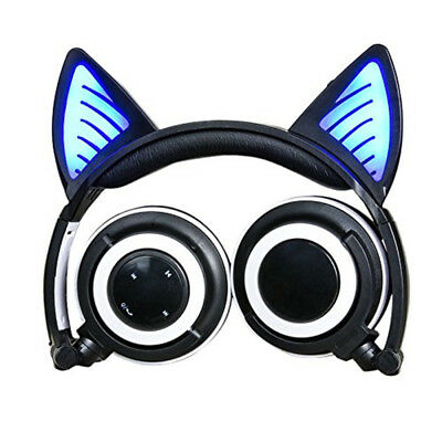 Cat Ear Headphones wireless Bluetooth Glowing Cosplay Foldable Stereo Earphone