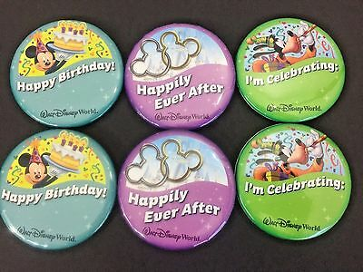 New Lot of 6 Disney World Pins Celebration Wedding Birthday Happily Ever After
