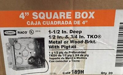 """(Lot Of 20)4"""" Hubbell Square Electrical Box 1-1/2"""" Deep, 1/2"""" & 3/4 TKO, #189H"""