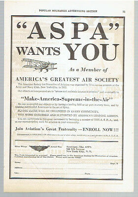 Vintage, Original, 1927 - American Society for Promotion of Aviation Ad - ASPA
