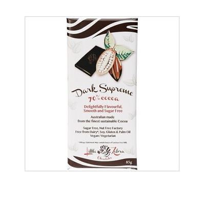 12 x 85g LITTLE ZEBRA CHOCOLATES Dark Supreme 70% Cocoa SUGAR FREE