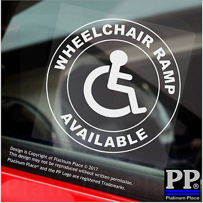 1x Wheelchair Ramp Available-Round-Window Sticker-Sign,Car,Badge,Disabled,Notice