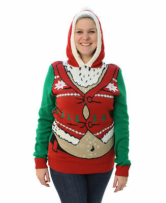 c68269a1 Ugly Christmas Sweater Plus Size Women's Fat Santa Hooded Pullover  Sweatshirt