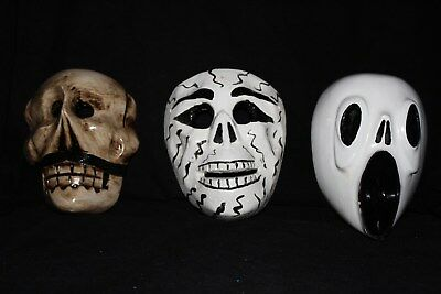 902 SKULLS and SCREAM MEXICAN WOODEN MASKS 3 pzas calaveras carved by hand