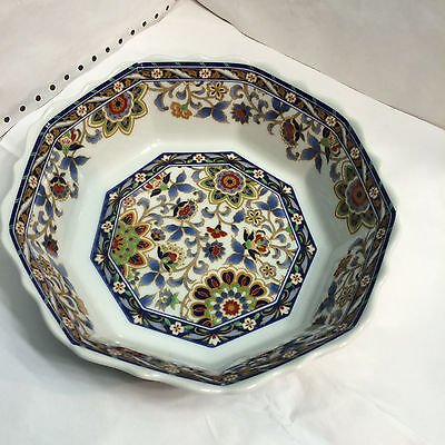 Beautiful Vintage: Asian  Porcelain Octagon Bowl Multi~Color Design Flowers