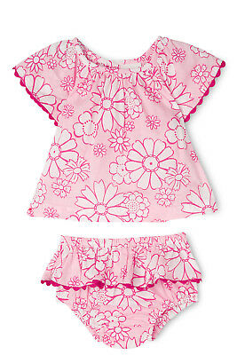NEW Jack & Milly Grace Ric Rac Flutter Sleeve Woven Top & Pant Set-Pink Daisy