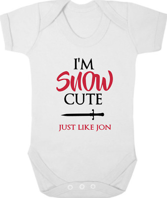 GAME OF THRONES New Bodysuit/Grow/Vest, Baby Shower, I'M SNOW CUTE JUST LIKE JON