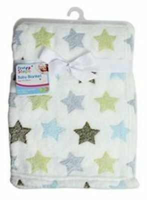 Soft Fleece Baby Blanket for Babies Newborn 75 x 100cm whte with stars