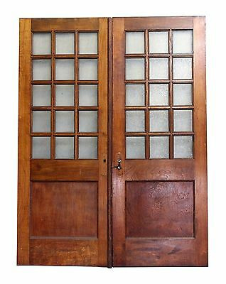 Double Wooden Doors with Multiple Textured Glass Panels