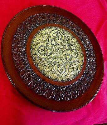 Old unusual large Vintage carved wood & Brass wall plaque / Plate Eastern Design