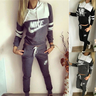 2017 Fashion Womens 2Pcs Tracksuit Hoodies Sweatshirt Pants Sets Sport Wear Suit